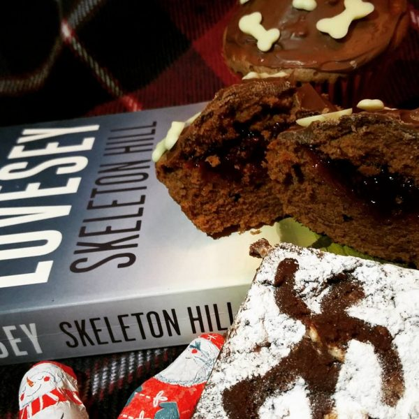 Skeleton Hill cupcakes with suitably gory centres and crime scene rocky road.